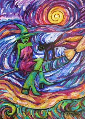 Painting - Turquoise Witch And Cat On Broom by Dianne  Connolly
