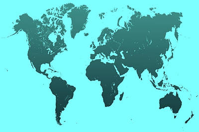 Turquoise World Map Art Print