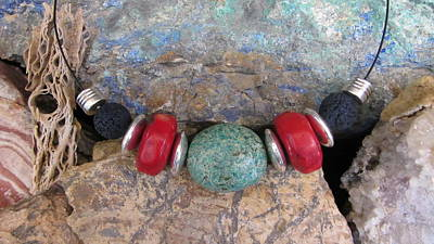 Jewelry - Turquoise,coral And Lava #s53 by Barbara Prestridge