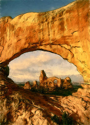 Tourist Attraction Digital Art - Turret Arch Framed by John K Woodruff