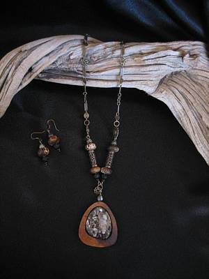 Jewelry - Turritella Fossil Set In Gourd Wood by Barbara Prestridge