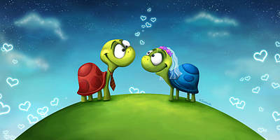 Turtle Digital Art - Turti And Turto by Tooshtoosh