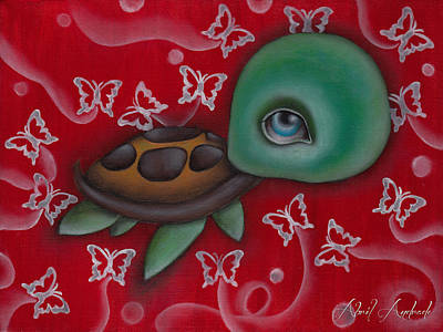 Baby Sea Turtle Painting - Turtle by  Abril Andrade Griffith