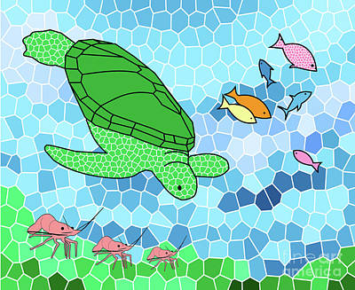 Painting - Turtle And Friends by Methune Hively