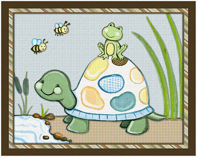 Custom Studio Painting - Turtle And Frog by Cheryl Marie