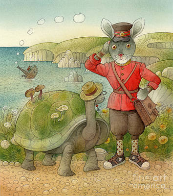 Green Sea Turtle Drawing - Turtle And Rabbit05 by Kestutis Kasparavicius