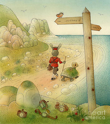 Green Sea Turtle Drawing - Turtle And Rabbit07 by Kestutis Kasparavicius