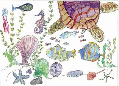 Painting - Turtle And Sea Life by Helen Holden-Gladsky