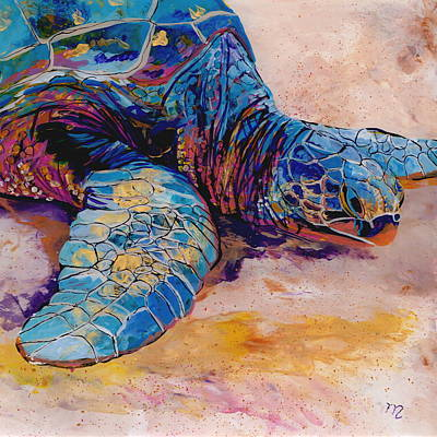 Kauai Artist Painting - Turtle At Poipu Beach 6 by Marionette Taboniar