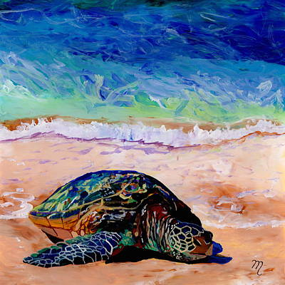 Green Sea Turtle Painting - Turtle At Poipu Beach 9 by Marionette Taboniar