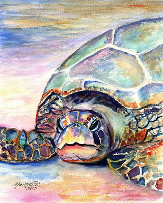 Honu Painting - Turtle At Poipu Beach by Marionette Taboniar