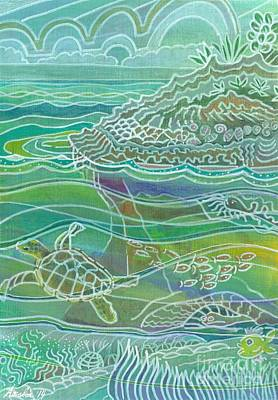 Mixed Media - Turtle At The Copper Sweeper Reef by Amelia at Ameliaworks