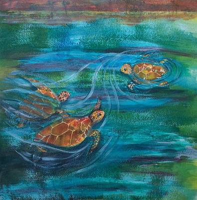 Turtle Ballet Art Print by Bonnie Rabert
