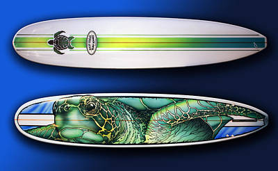 Longboard Painting - Turtle Board by William Love