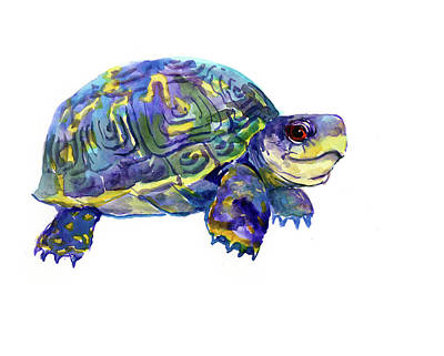 Painting - Turtle Children Art Nursery Artwork Illustration by Suren Nersisyan