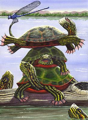 Painted Turtle Wall Art - Painting - Turtle Circus by Catherine G McElroy