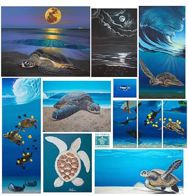 Sea Turlte Painting - Turtle Collage by Alexa Caskey