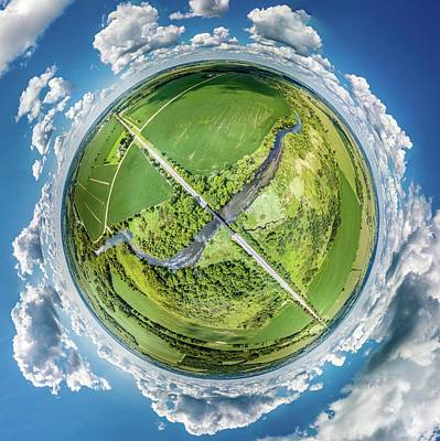 Art Print featuring the photograph Turtle Creek Railroad Bridge Little Planet by Randy Scherkenbach
