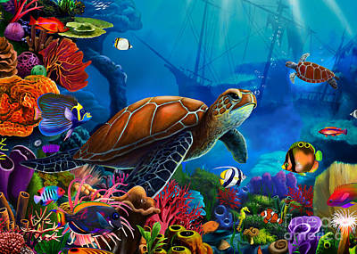 Caribbean Sea Digital Art - Turtle Domain by Gerald Newton
