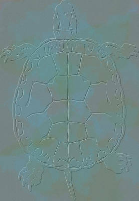 Sea Turtles Mixed Media - Turtle Etching by Dan Sproul