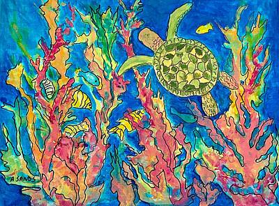 Painting - Turtle In Deep Blue Sea by Anne Sands