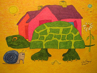 Painting - Turtle In Neighborhood by Lew Hagood