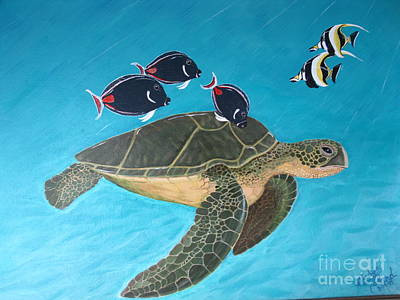 Seaturtle Painting - Turtle In Pardise by Gladys Toland