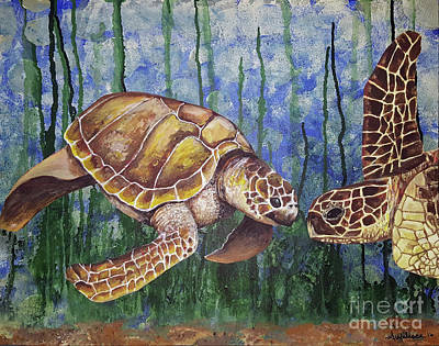 Mixed Media - Turtle Love by Sandra FM Wallace