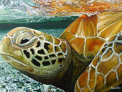 Green Sea Turtle Painting - Turtle Me Too by Jon Ferrentino