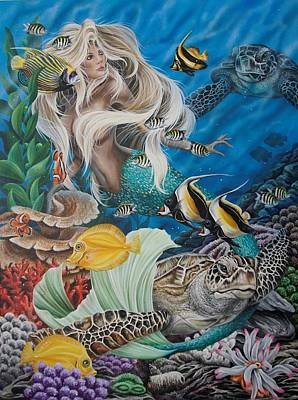 Painting - Turtle Mermaid by Katie McConnachie