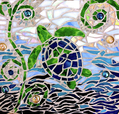 Glass Art - Turtle Mosaic by Jan Marvin