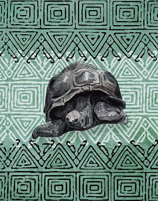Mixed Media - Turtle On Ornament by Masha Batkova