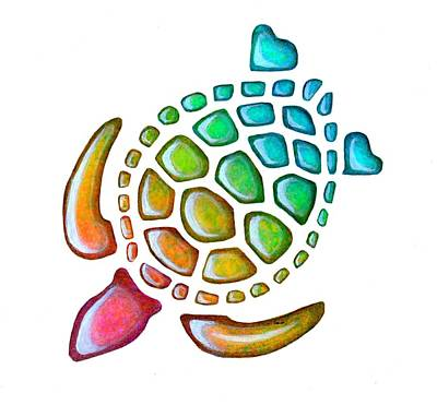 Pink Painting - Turtle Pebbles by Sarah Krafft