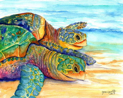 Painting - Turtle Race by Marionette Taboniar
