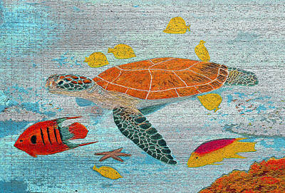 Hawaii Sea Turtle Digital Art - Turtle Reef On Wood by Ken Figurski
