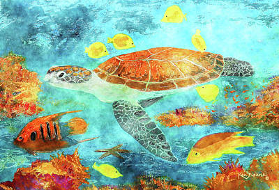 Hawaii Sea Turtle Digital Art - Turtle Reef Watercolor by Ken Figurski