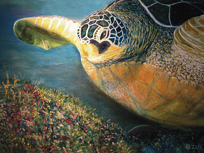 Art Print featuring the painting Turtle Run by Karen Zuk Rosenblatt