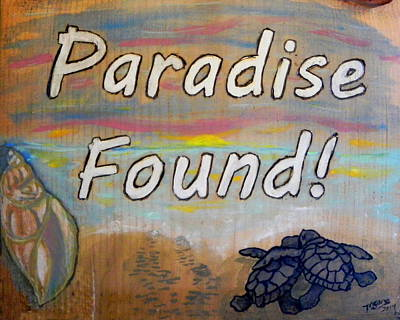 Tiki Art Painting - Turtle Sign by M Gilroy