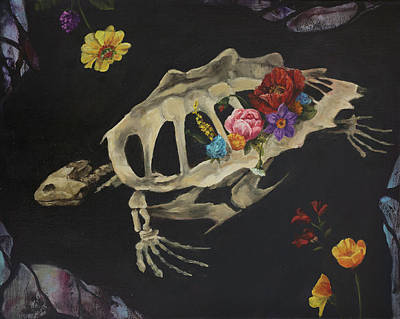 Painting - Turtle Skeleton And Flowers by Elise Procter