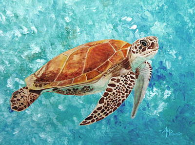Martinez Painting - Turtle Swimming by Angeles M Pomata