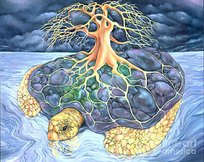 Visionary Art Painting - Turtle Tree Mandala by Marcia Snedecor