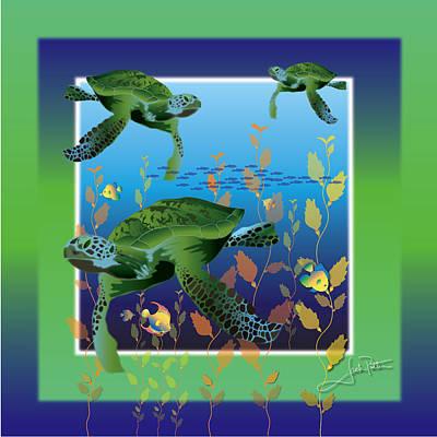 Wall Art - Digital Art - Turtle Tripping by Jack Potter