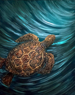 Turtle Wave Deep Blue Art Print