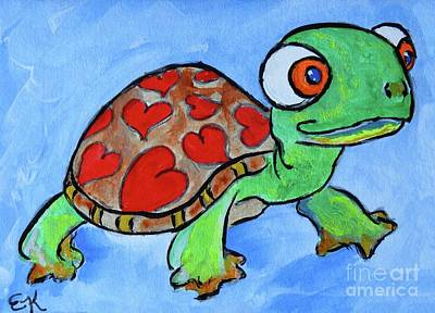 Painting - Turtle With A Big Heart - Original Painting Art Print #656 by Ella Kaye Dickey