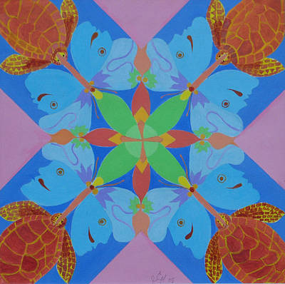 Turtles And Butterfly People Art Print by Seema  Gill
