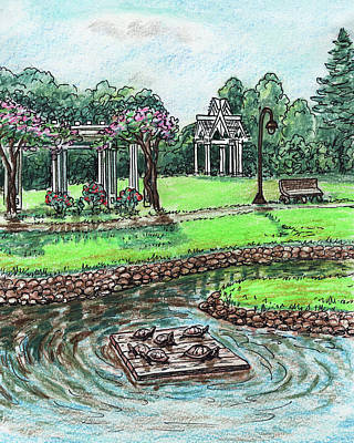 Reptiles Royalty-Free and Rights-Managed Images - Turtles And Gazebo Pleasant Hill Downtown  by Irina Sztukowski