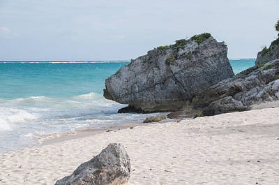 Digital Art - Turtles Beach At Tulum Ruins by Carol Ailles