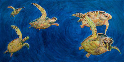 Turtles Art Print by Julia Collard