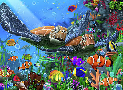 Turtle Digital Art - Turtles Of The Deep by Gerald Newton