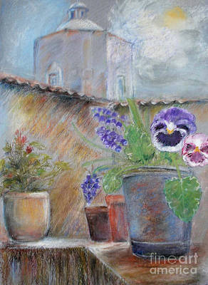 Tuscan Courtyard Art Print by Sibby S